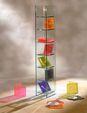 Glass CD and DVD towers : Designer: Tao-Ta